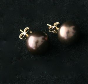 8mm CHOCOLATE FRESHWATER PEARL STUD EARRINGS ON 9CT GOLD